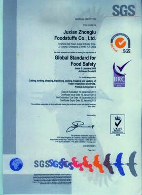 2012 the BRC certificate